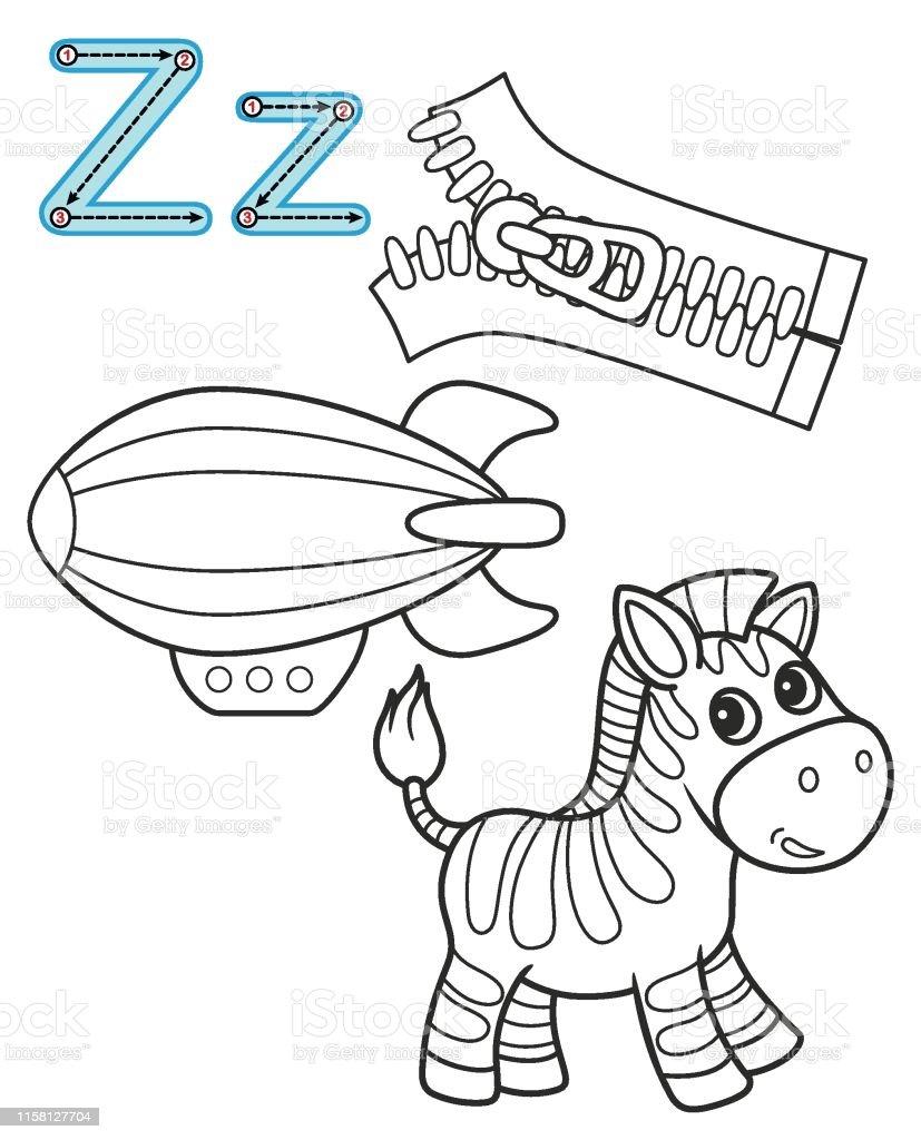 Lettre Z Zebra Zipper Zeppelin Alphabet De Livre De Colorant De