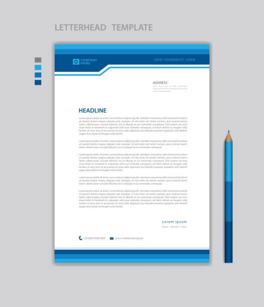 Letterhead template vector, minimalist style, printing design, business advertisement layout, Blue concept background Letterhead template vector, minimalist style, printing design, business advertisement layout, Blue concept background letterhead stock illustrations