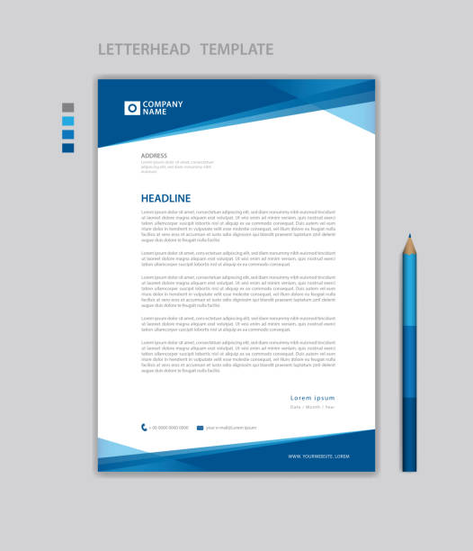letterhead template vector, minimalist style, printing design, business advertisement layout, blue concept background - blue drawings stock illustrations