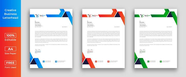 Letterhead template with various colors, Letterhead template in flat style, Letterhead set or bundle, Business letterhead