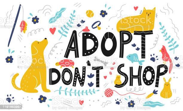 Lettering adopt dont shop card doodle pets and objects for care vector id1191863997?b=1&k=6&m=1191863997&s=612x612&h=s7mll7iw pzrc0rcj1arrovl3rtukwhnv2j3h7wu1qi=
