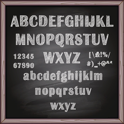 Lettering and alphabet on chalkboard