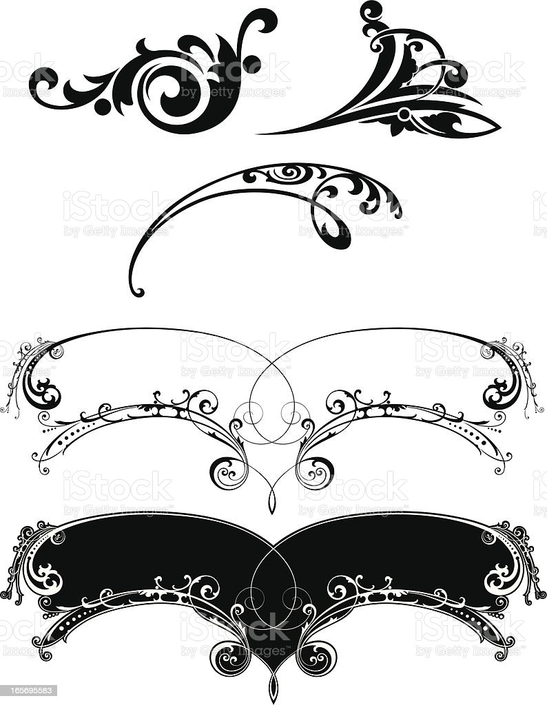 Lettering Banner and Scroll Designs vector art illustration