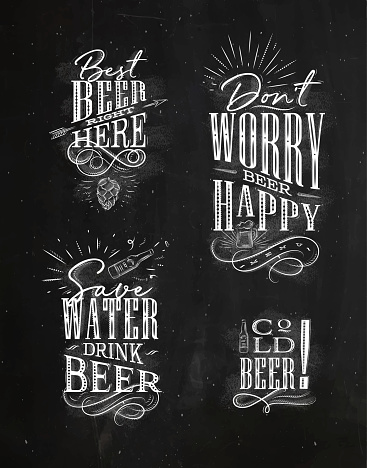 Lettering beer vintage drawings chalk