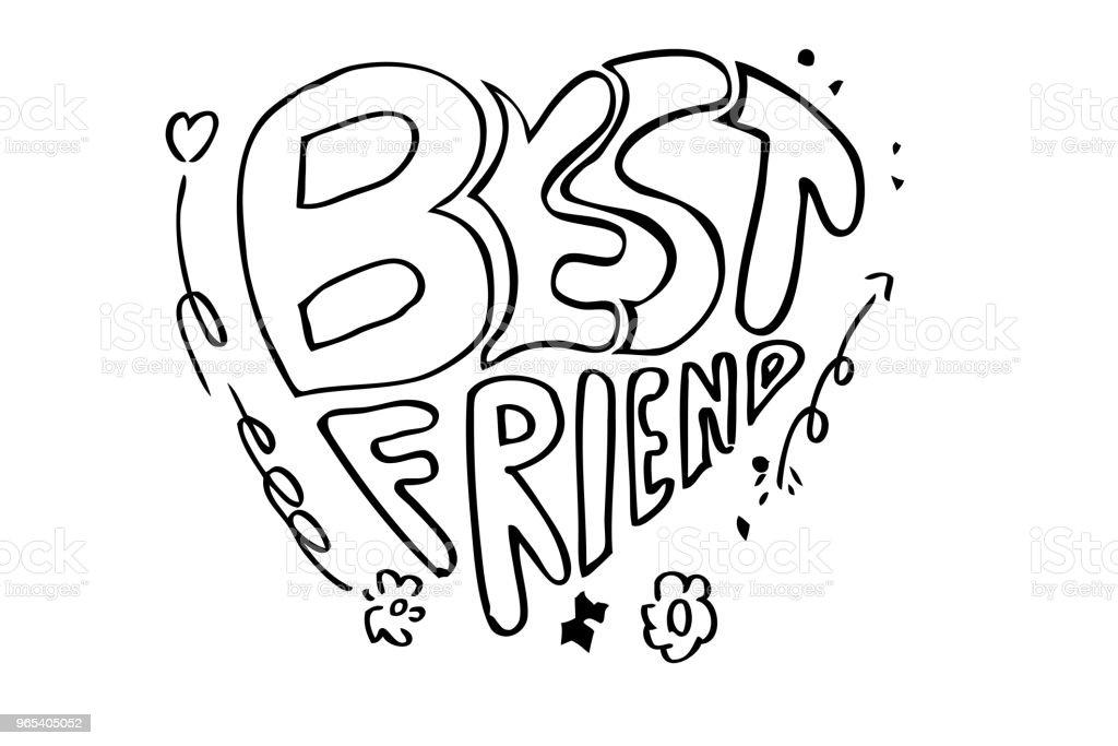 lettering best friend, black outline at white background vector art illustration