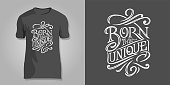 Lettering BORN TO BE UNIQUE on dark background for printing on T-shirts, covers of notepad, sketchbooks, postcards. Vector design for printshops.