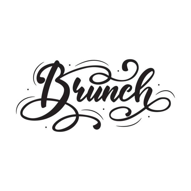 brunch-schriftzug. vektor-illustration. - brunch stock-grafiken, -clipart, -cartoons und -symbole