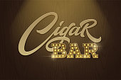 Lettering Cigar Bar in retro style on background of dark brown wood texture. Vector template for design signboards in vintage style. Modern typography, font composition. EPS10