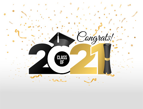 Lettering Class of 2021 for greeting, invitation card. Text for graduation design, congratulation event, T-shirt, party, high school or college graduate. Vector isolated on white background.