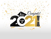 istock Lettering Class of 2021 for greeting, invitation card. Text for graduation design, congratulation event, T-shirt, party, high school or college graduate. Vector isolated on white background. 1277408444