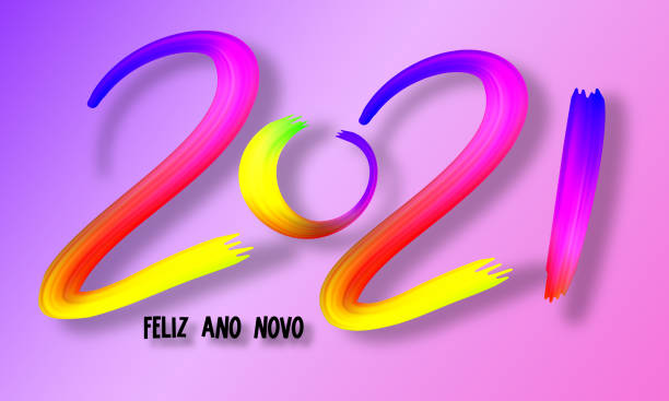 2021 lettering colorful watercolor or oil paint brushstroke with shadow, vector illustration. Happy New Year on portuguese - Feliz Ano Novo 2021 lettering colorful watercolor or oil paint brushstroke with shadow, vector illustration. Happy New Year on portuguese - Feliz Ano Novo ano novo stock illustrations