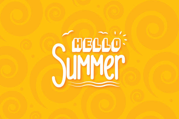 ilustraciones, imágenes clip art, dibujos animados e iconos de stock de composición de letras de la ilustración de stock de summer vacation - verano