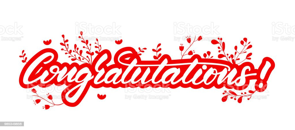 lettering design with a word congratulations vector illustration