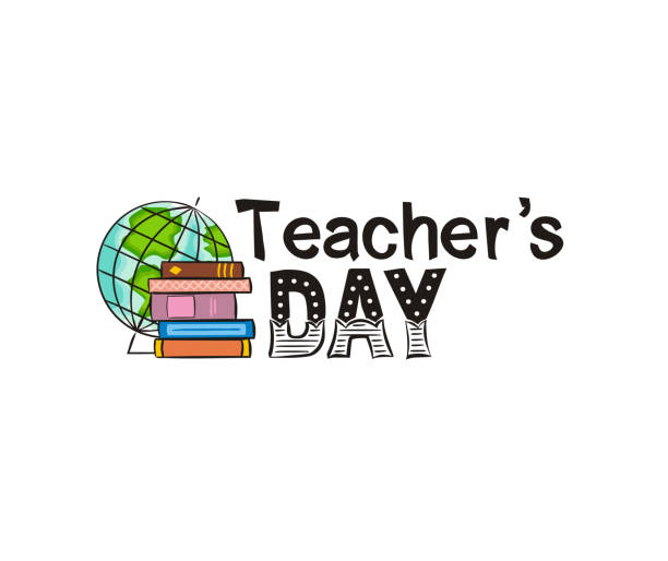 Lettering for Teacher's Day with a globe logo and a stack of books. Lettering for Teacher's Day with a globe logo and a stack of books. Hand drawn isolated emblem for school banner, presentation, template. Vector illustration thank you teacher stock illustrations