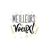 Lettering. calligraphy vector illustration. French text: Best wishes Meilleures voeux