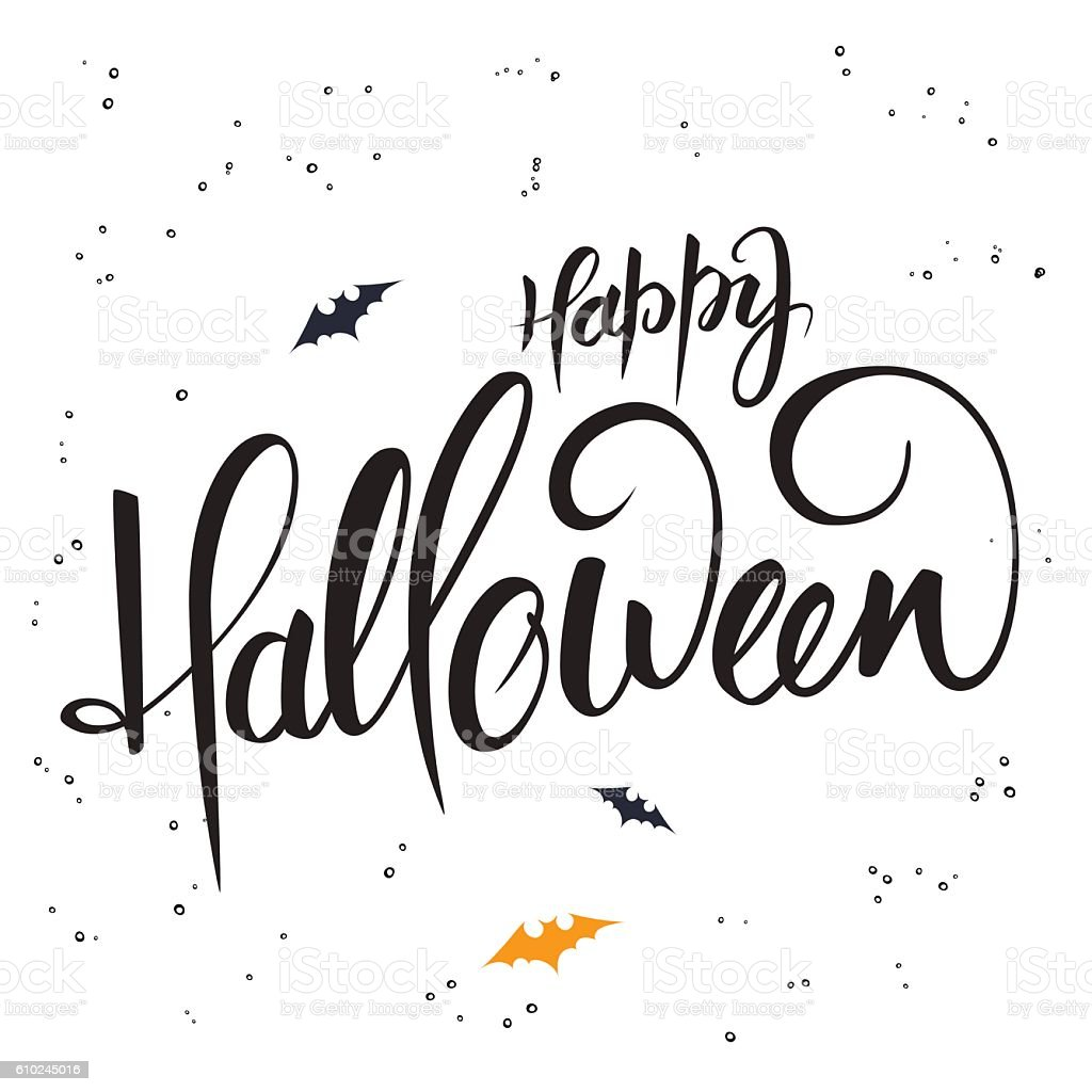 lettering halloween greetings text happy halloween with bat stock