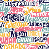 Lettering hand drawn seamless pattern with countries. Vector travel background.