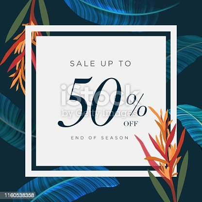 50% lettering handmade with leaves and flower tropical decoration. For Sale discount, Poster Banner Background, Sign and symbol. Luxury unique style, Green color, Vector illustration