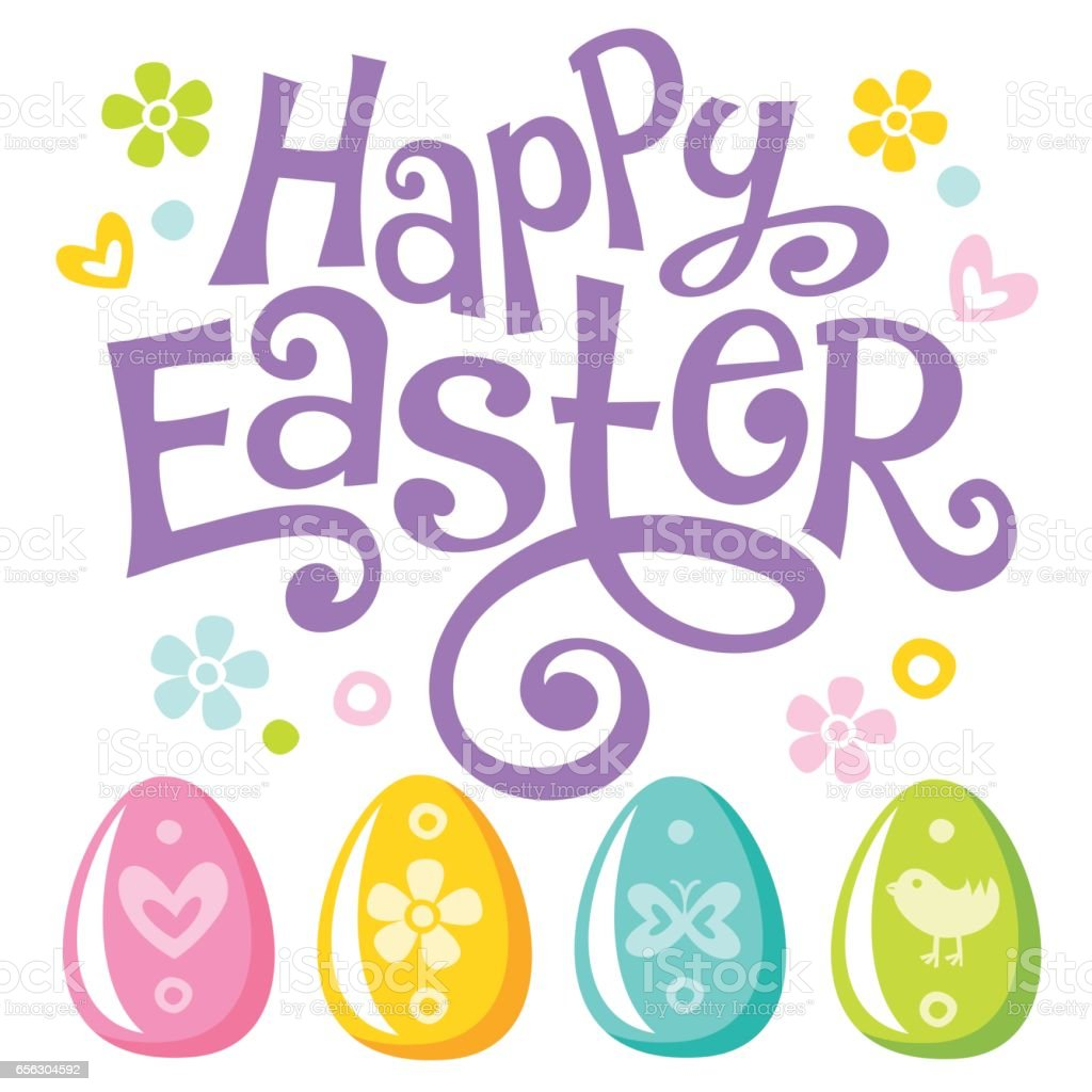 Lettering Happy Easter text and eggs vector art illustration