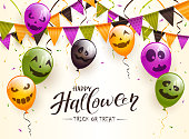 Lettering Happy Halloween and Trick or Treat on beige background. Colorful balloons with scary faces. Illustration can be used for holiday cards, invitations, children's clothing design and banners.