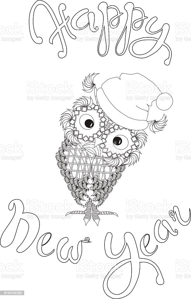 lettering happy new year cute owl coloring page stock vector art
