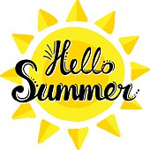 Lettering hello summer on the background of the sun.