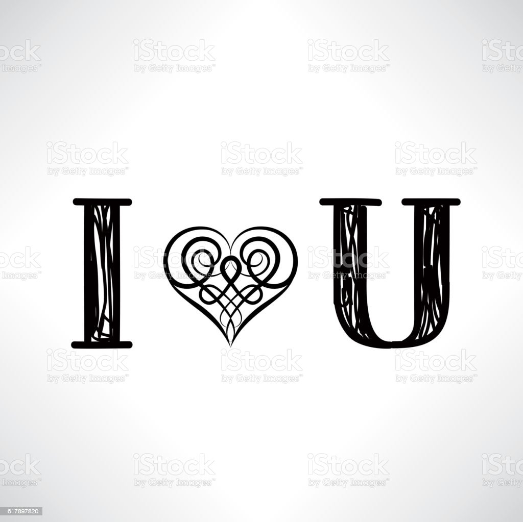 Lettering I Love You With Patterned Heart In Celtic Style Stock