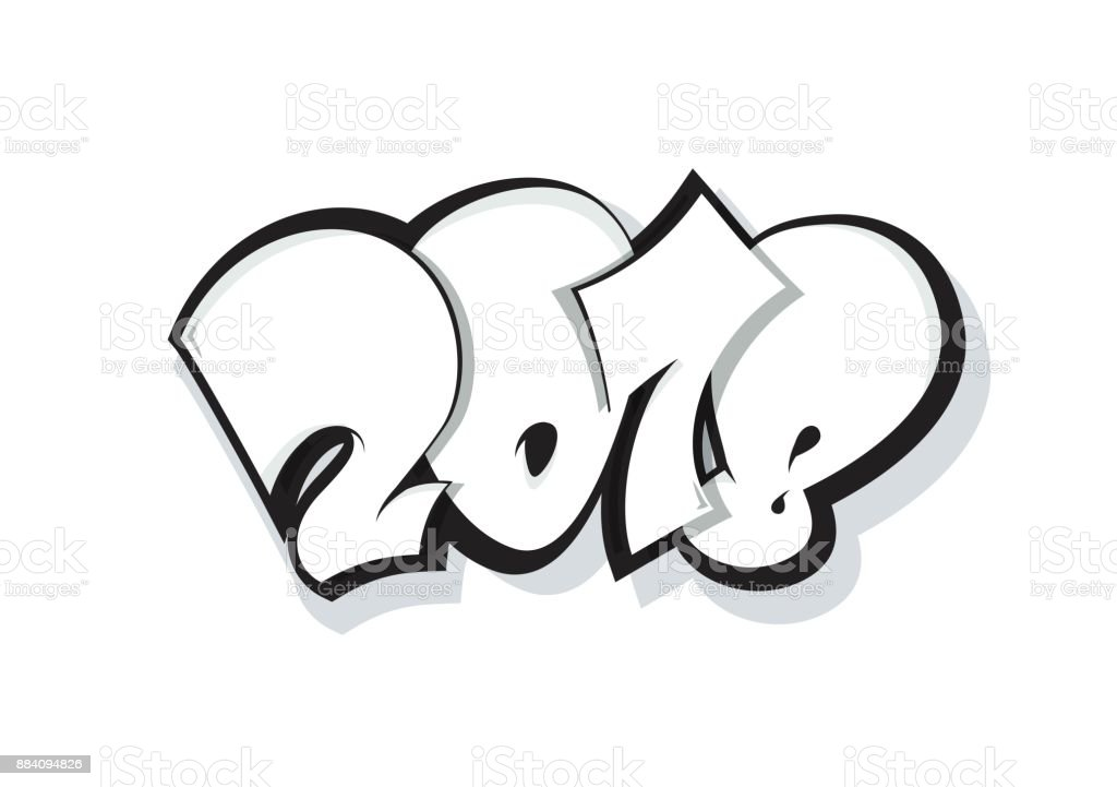 2018 lettering isolated on white. vector art illustration