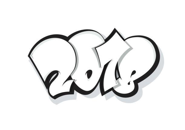 2018 schriftzug isoliert auf weiss. - graffiti schriftarten stock-grafiken, -clipart, -cartoons und -symbole