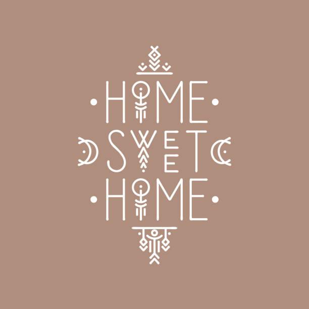 ilustraciones, imágenes clip art, dibujos animados e iconos de stock de cartel de arte de línea de letras home sweet home - tipos de letra de líneas finas