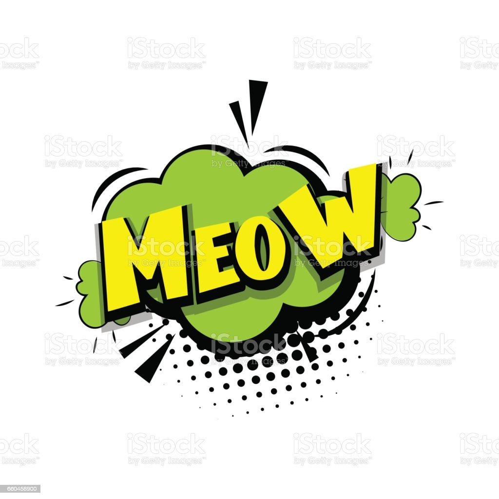 Lettering meow kitty comic text pop art vector art illustration
