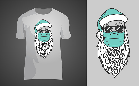 Lettering MERRY CHRISTMAS with hand drawn Santa Claus in medical mask on gray background. Vector template for printing on shirt, cover, sketchbook. Illustration for clothing, apparel, printshop.