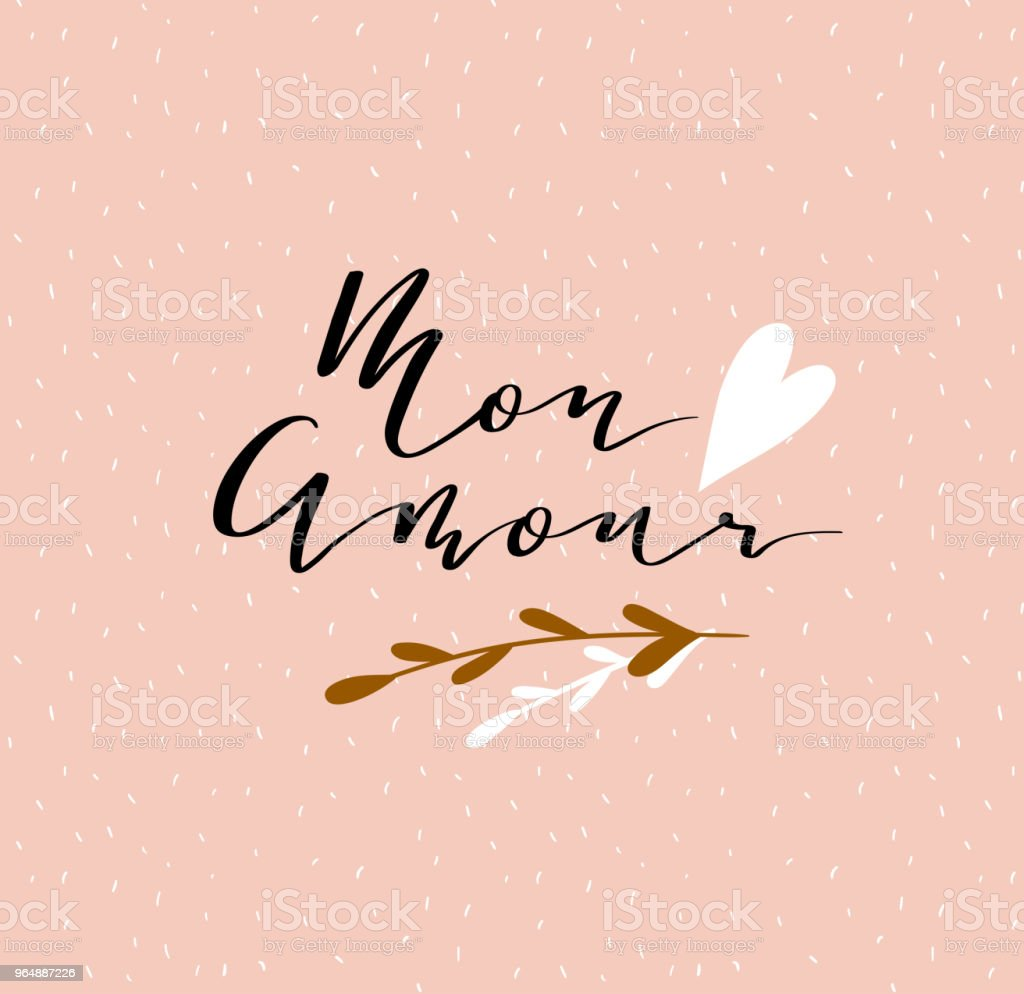 Lettering 'Mon amour' calligraphic font. Vector illustration with hand drawing italic inscription. Declaration of love - Valentine's day card. royalty-free lettering mon amour calligraphic font vector illustration with hand drawing italic inscription declaration of love valentines day card stock vector art & more images of no people
