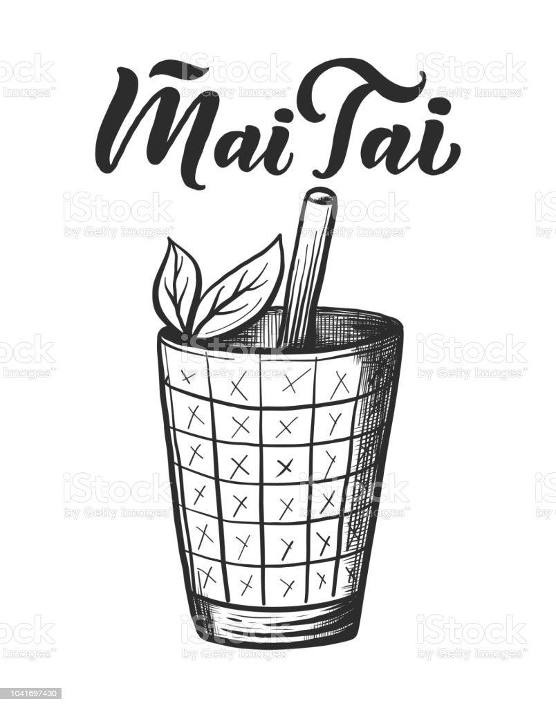 Beschriftung Name Der Cocktail Mit Glas Vorlage Für Die Karte Banner ...