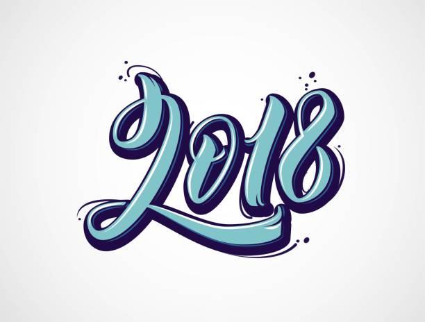 2018 schriftzug zahlen isoliert auf weiss. - graffiti schriftarten stock-grafiken, -clipart, -cartoons und -symbole