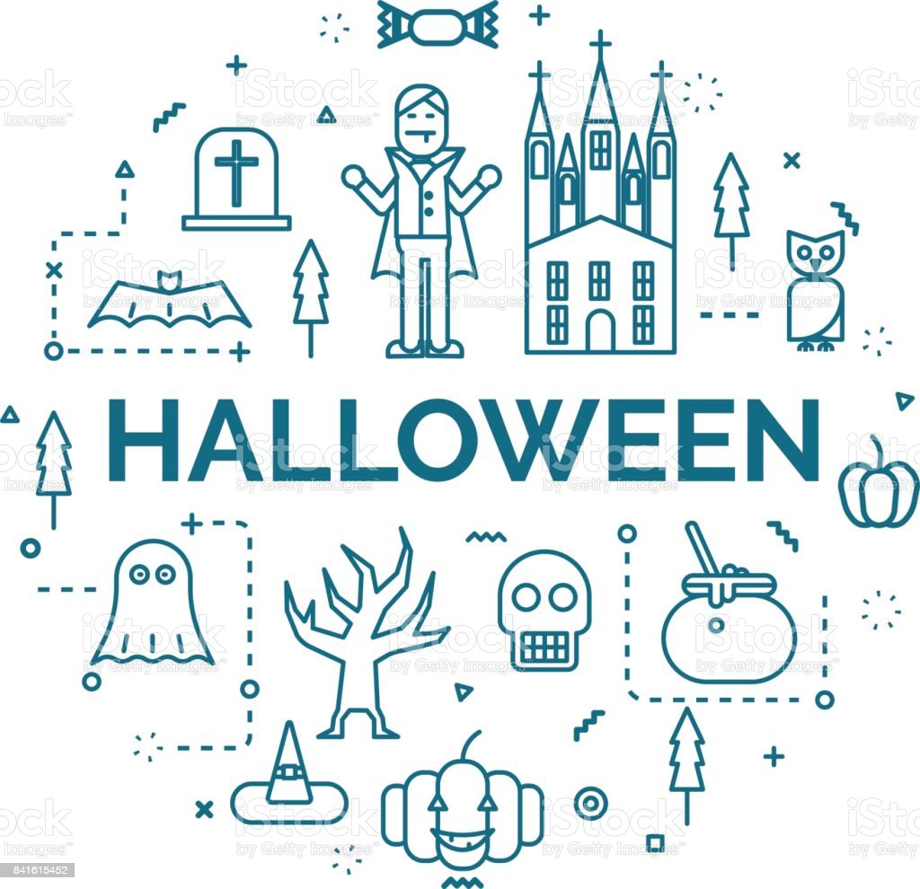 lettering of halloween concept with line icons set. vector art illustration