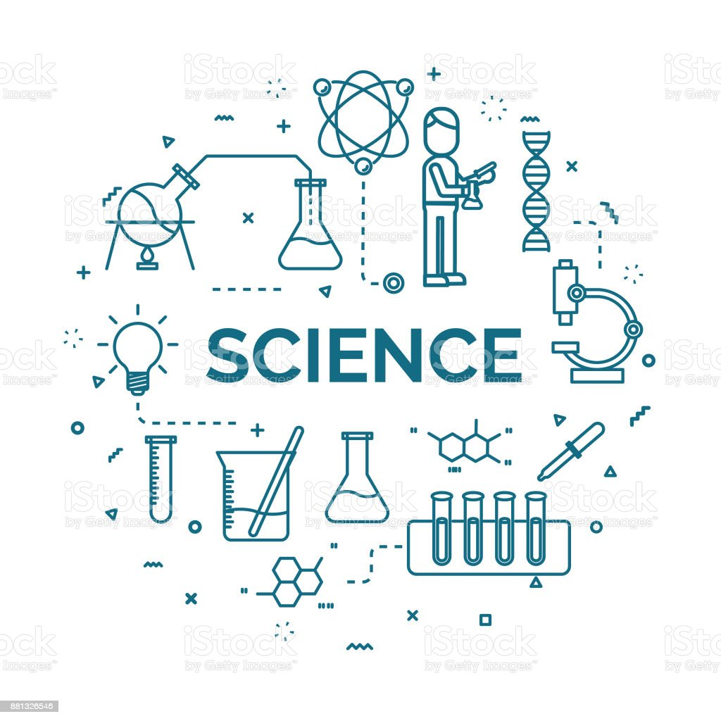 lettering of science concept with line icons set. vector art illustration