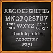 Alphabet and Lettering on blackboard