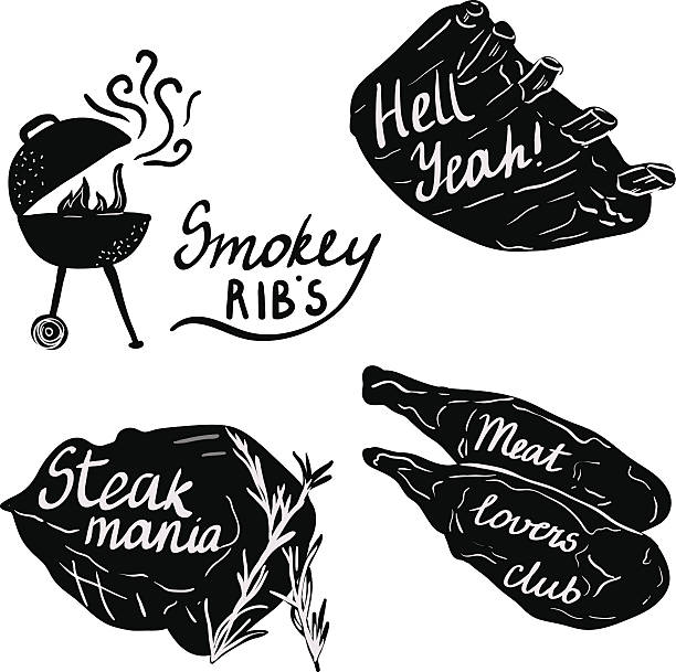 Lettering on meat and ribs for bbq party. vector art illustration