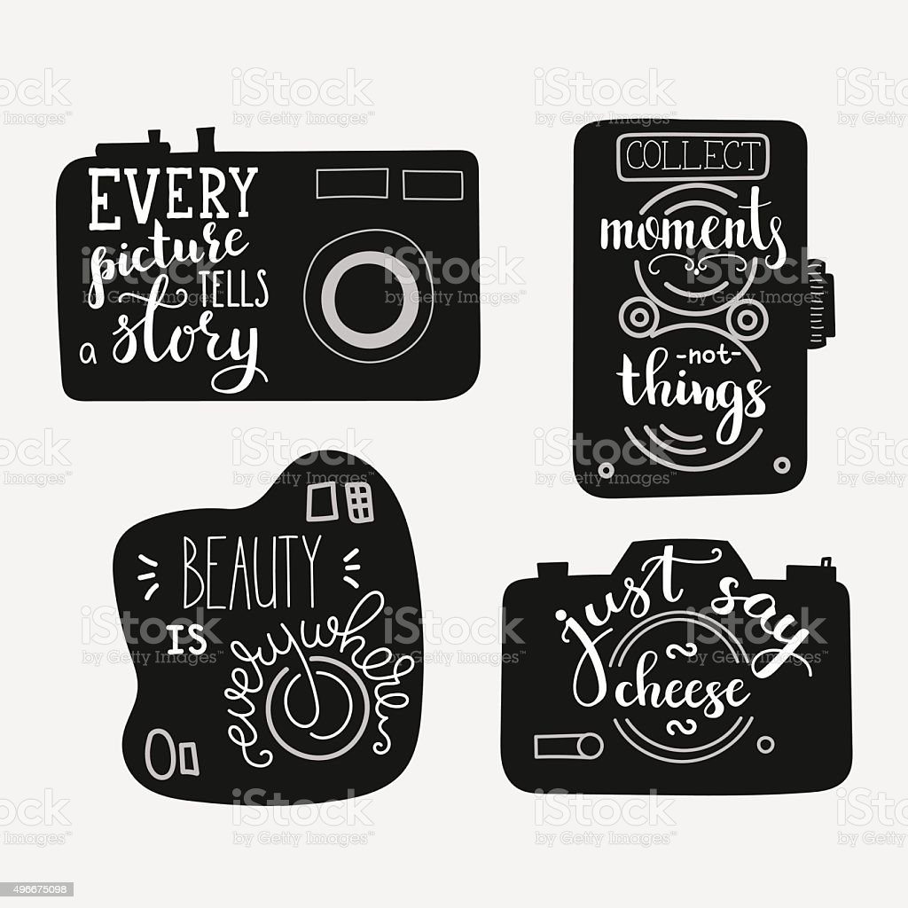 Lettering On Vintage Old Camera Shape Set Stock Illustration