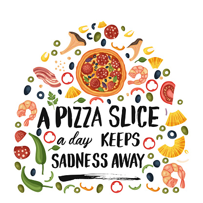 Lettering pizza vector illustration.
