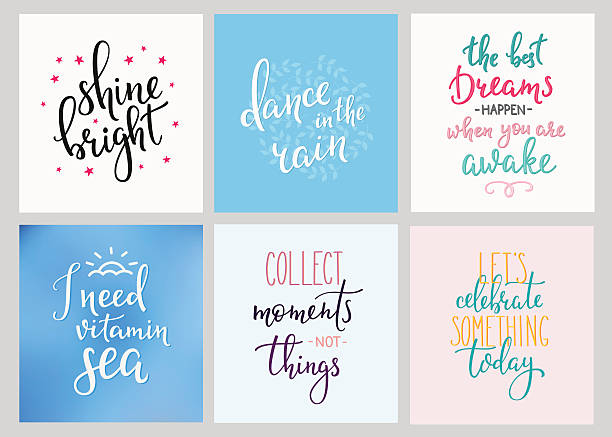 Lettering postcard quotes set Lettering vector postcard quotes set. Motivational quote. Sweet cute inspiration typography. Calligraphy photo graphic design element. Hand written sign. Shine bright. Dance in the rain Lets celebrate short phrase stock illustrations