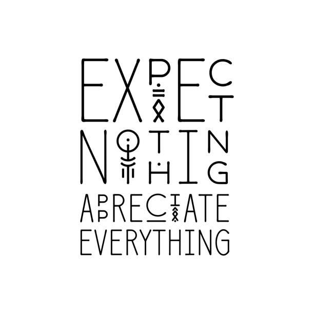 ilustraciones, imágenes clip art, dibujos animados e iconos de stock de cartel de letras no esperan nada apreciar todo en el estilo geométrico de arte de línea. - tipos de letra de líneas finas