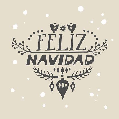 "Lettering poster ""Feliz Navidad"" (""Merry Christmas"", spanish) in scandinavian style."