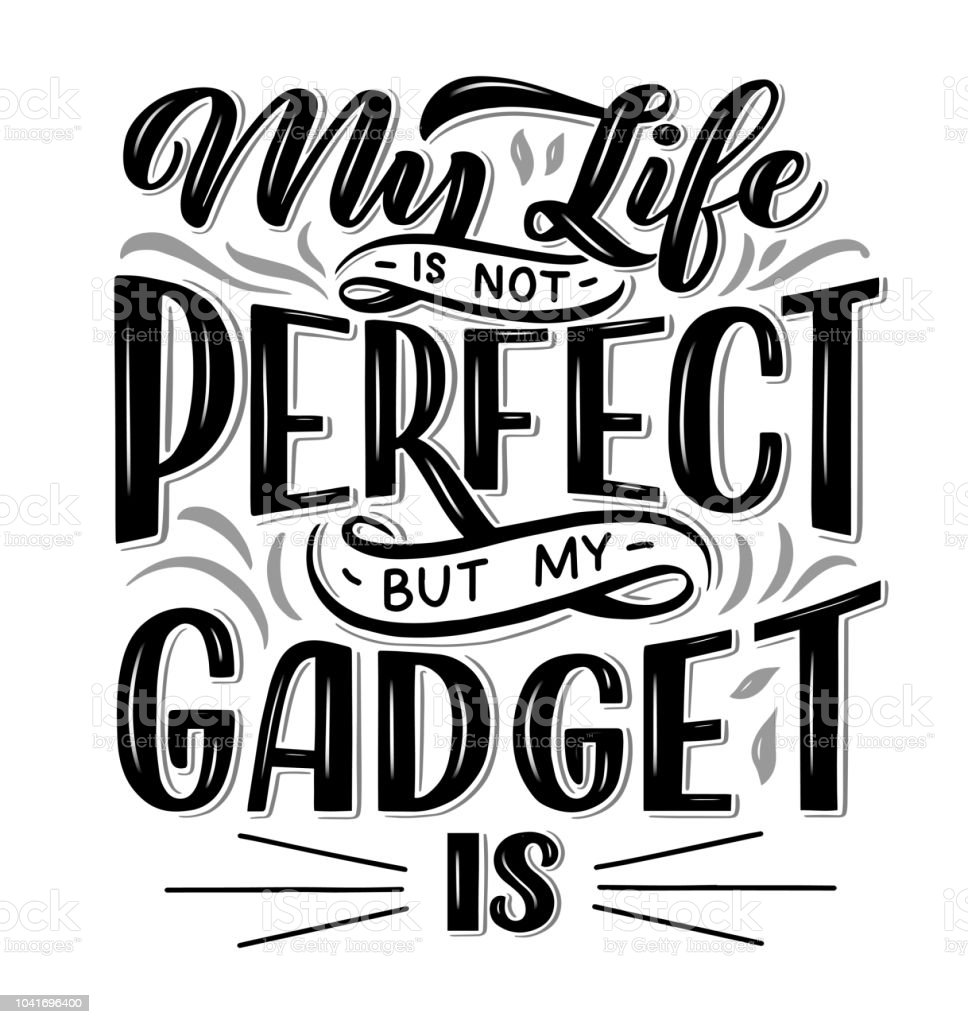 Vetores De Cartaz De Letras Frase Motivacional Sobre Gadgets E Tecnologia Composição Da Mão Desenhada Ilustração Em Vetor Monocromático E Mais Imagens