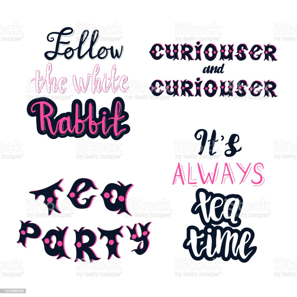 Lettering Set Of Alice In Wonderland Quotes Stock Illustration Download Image Now Istock