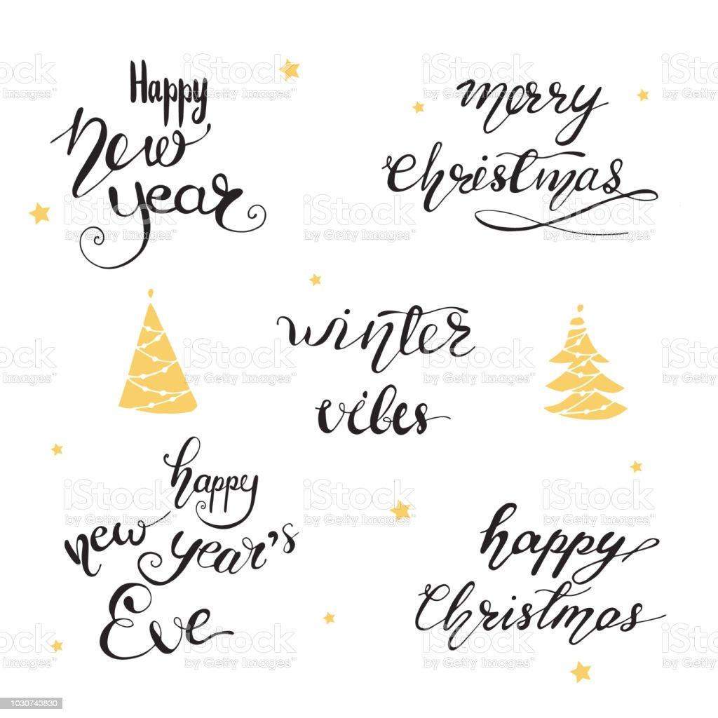Ilustración De Letras Con Frases De Felicitación De Navidad