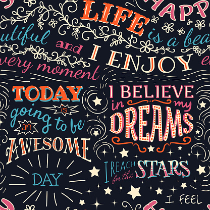 Lettering with positive affirmations