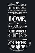 Lettering with quote about coffee. Modern calligraphy style. Hand drawn image