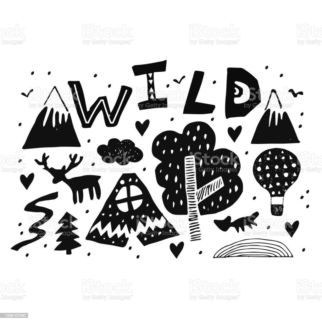 Ilustración De Letras De Palabra Salvaje Con Dibujos De